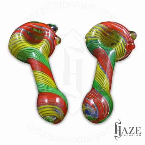 Rasta Hand pipe – Glass Spoon Pipe